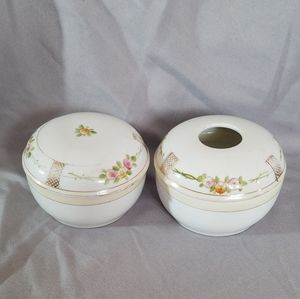 VTG Handpainted Nippon Dresser Box & Hair Receiver